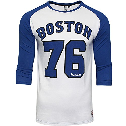 mens-soulstar-boston-baseball-jersey-3-4-sleeve-t-shirt-casual-designer-top-m-blue