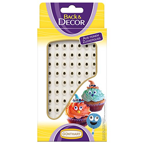 Günthart BackDecor kleine Augen aus Zucker | 63 Zucker Augen für Tortendeko | Cupcake |...