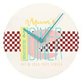 50s Inspired '24 Hour Mum's Diner' Wall Clock - 34cm Diamter