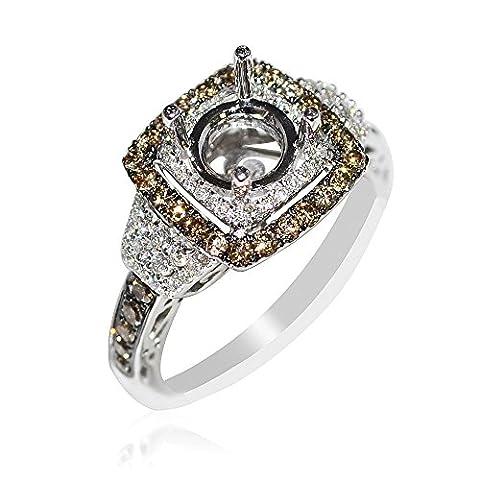 Midwest Bijoux Femme Diamant semi Support Bague de Fiançailles avec Diamant Blanc HALO Cognac 1ct 14kW (I/J couleur 0,8carat au total)