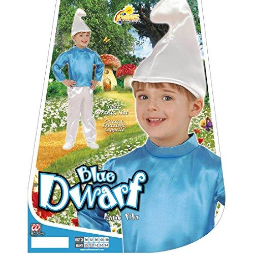 Zwergenkostüm Kinder Zwerg Kinderkostüm 104 cm 2-3 Jahre Baby Schlumpfkostüm Blauer Schlumpf Kostüm Karneval Kostüme Jungen Gnom Faschingskostüm Comic Zwergkostüm