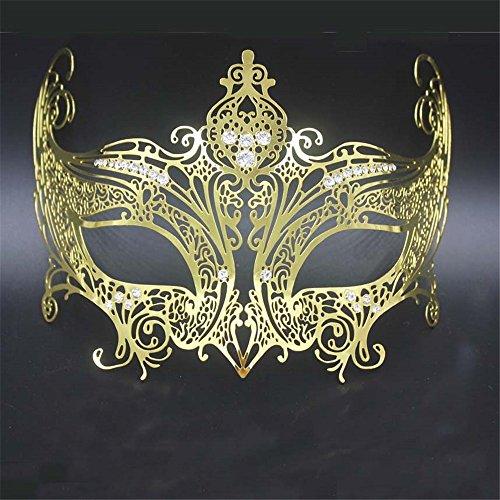 (Weibliche Krone Venedig Halloween Metall Maske Make-up Maskerade Prinzessin Show Foto Requisiten Gold, Gold)