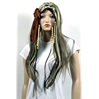 Qubeat Wig women long with Highlights brown/blonde Middle parting With Pigtails Straight Carnival Carnival with hair accessory