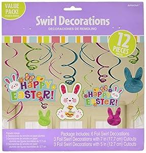Amscan 670419 colgantes de decoración de espirales del Conejo de Pascua
