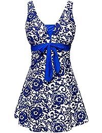 AMAGGIGO Women's Polka Dot One Piece Swimsuit Tummy Control Swimwear Swimdress with Skirt(FBA)