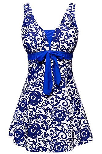 ALICECOCO Femme Maillot de bain Push Up Rembourré Amincissant Bikini Style Robe Tankini Grande Taille Beachwear (FBA) (EU 40--42 ( XL ), Bleu clair)