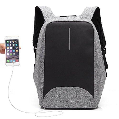 """Antifurto Zaino con porta USB, Zaino Per PC Portatile Impermeabile da uomo Ubaymax, 15.6"""" Borsa Per La Scuola Scuola, Business, Viaggi, Attività All'aperto (Grigio)"""