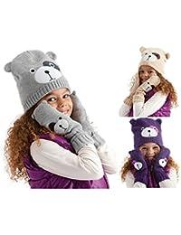 Scintillante visage pour Animal avec doublure en polaire-Bonnet et moufles à Partir de 3/6/7/10, violet, gris et beige