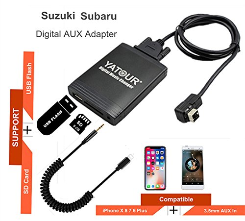 Suzuki iPhone Stereo Aux Adapter, KFZ Digital Audio-Eingang Interface mit SD-Karte, iPod MP3 USB, 3,5 mm AUX IN, Lighnting Musik Player für SUZUKI 1998-2001 - Touch-wechsler Ipod