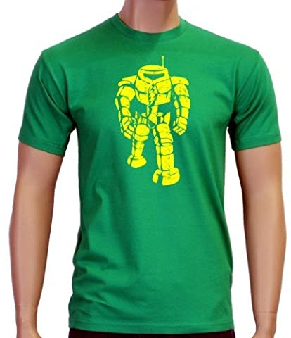 Coole-Fun-T-Shirts Herren T-Shirt Sheldon Robot Big Bang Theory!, green-gelb, L, BK104
