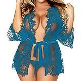 1 PC Femmes Lingerie Babydoll Sous-vêtements Lace Coat & G-string Caleçon Vêtements de nuit par Reaso (M, Bleu)