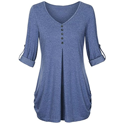 SEWORLD 2018 Damen Mode Sommer Herbst Schal Elegant Lose Täglich Chiffon Lose Langarm Solide V-Ausschnitt Gefesselt Shirt Bluse Tops(X-f-Blau,EU-40/CN-M)