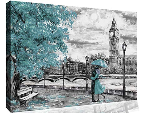 "London Oil Painting Big Ben Duck Egg Blue Umbrella Canvas Wall Art Picture Print (A1 (32"" x 20"")"