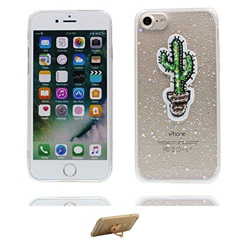 Custodia iPhone 7, Silicone trasparente Case iPhone 7 copertura Cover e ring supporto Shell Graffi Resistenti - 3D Bling Bottle Cup Color - 7