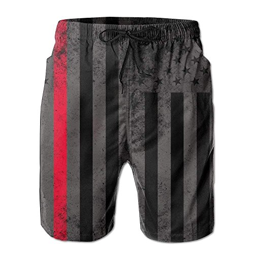 Pillow Hat Fire Fighter Thin Red Line Flag Men's Summer Fast Drying Beach Shorts Swim Trunks Surf Shorts XX-Large (Fighter Fire Hat)