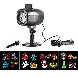 LED di proiezione di Natale Lampada per proiettore a LED 4 Modello di colore intercambiabile per illuminazione interna / esterna di illuminazione da discoteca, feste Ognissanti Natale Compleanno Matrimonio e Decorazione domestica