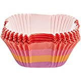 Wilton 5x5 cm (2 x 2-Inch) Standard Square Warm Stripes Baking Case, 24 Pack - Multi-Colour