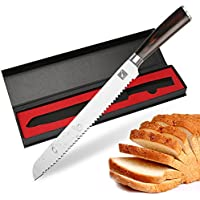 Imarku Cuchillo de pan de Alta Calidad con Mango Ergonómico, Cuchillo 10 pulgadas Fácil de Operar para Cocina