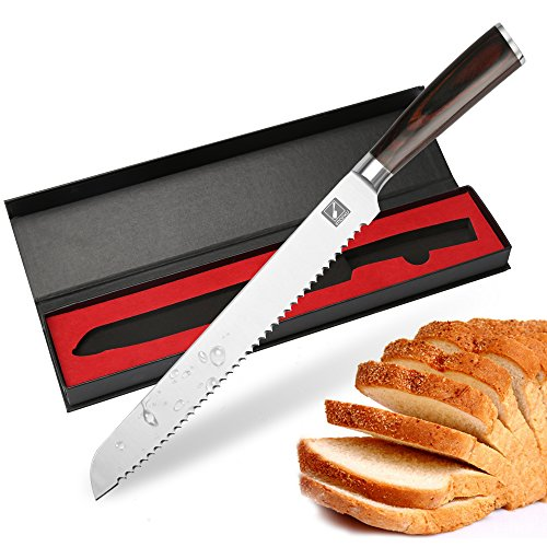IMarku Coltello Per Affettare Torta Pane Seghettato Da 10 Pollici - Premium Affettatrice Per Pane In Acciaio Inossidabile