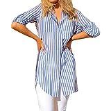 VEMOW Sommer Herbst Casual Womens Lose Taste Long Shirt Kleid Baumwolle Elegante Damen Tägliche Party Strand Tops T-Shirt Bluse Oberteile(Y1-Blau, EU-48/CN-XL)