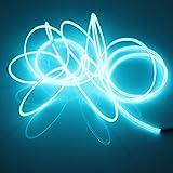 Lerway - Tubo luminoso LED neon flessibile, lungo 5 m, per Natale, feste, decorazione auto, casa, esterni, club, bicicletta, colore: azzurro