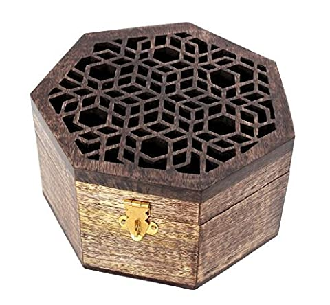 Diwali Gifts, Handmade Wooden Jewellery Storage Box With Heptagon Shaped with Walnut Finish Multipurpose Keepsake Trinket Box