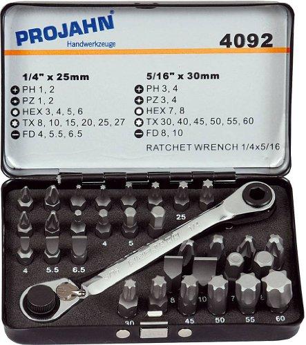 """Projahn 4092 Kombi Bit Box 1/4\"""" - 5/16\""""; professioneller Bit Satz handbetätigt oder für Elektroschrauber (Außen-6Kant); handliches Set für alle gängigen Anwendungen; 25mm ; 32-tlg."""