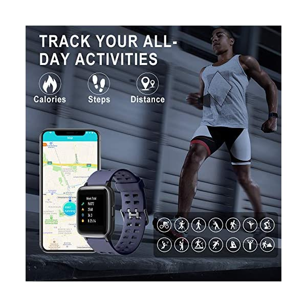 Smartwatch, 5ATM Impermeable Reloj Inteligente Hombre Mujer, Pulsera Actividad Inteligente Reloj Deportivo Reloj Fitness con Pantalla Táctil Completa Pulsómetro Cronómetros para iPhone iOS Android 5