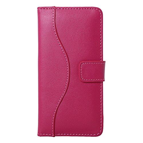 Pdncase iPhone 6 Genuine Leder Tasche Case Hülle Wallet Style Schutzhülle für iPhone 6 Farbe Schwarz Rose