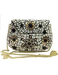 3bd5bc469e4 Gannu Party Sling Embrague bolsa de mosaico de piedra Embrague Étnico Caja  de metal nupcial billetera Bolso indio…