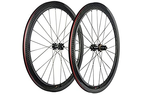 WINDBREAK BIKE 50mm Carbon Road Bike Disc Brake Clincher Wheelset 12k Glossy Finish Wheel