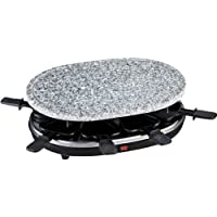 H.Koenig RP 85 RP85 Raclette-Grill con Piedra Natural para 8 Personas, 900 W, Acero Inoxidable, Negro