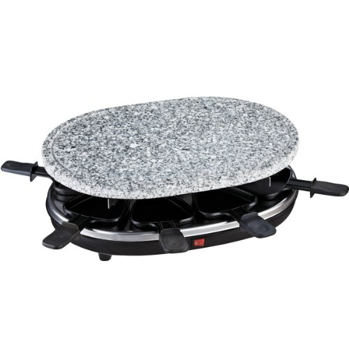 H.Koenig RP 85 RP85 Raclette Grill con Piedra Natural, 900 W, 8 Personas, Acero Inoxidable, Negro, Gris