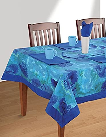 ShalinIndia Colorful Multicolor Cotton Spring Floral Blue Border Tablecloths For Dinning Tables 60 X 90 (4 Pezzo Stampato Inserire)