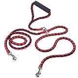 PETBABA Laisse Double Anti Enchevêtrement, 1.4m Longue Nylon Laisse de Dressage avec Poignée Rembourrée pour 2 Chiens Rouge