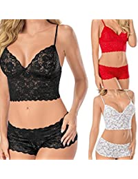 4efdf605b Voiks Women s Comfort Sexy Underwire Push up Bra and Knickers Set Fine Lace  Fabric Lingerie Sets