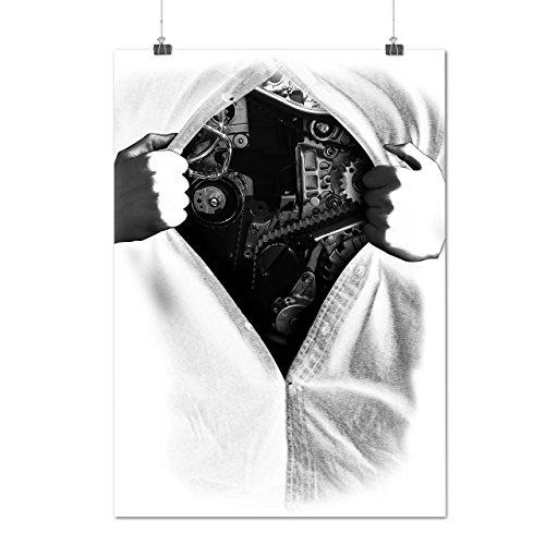 Mechaniker Herz Mode Mann Maschine Mattes/Glänzende Plakat A3 (42cm x 30cm) | (Kostüm Männer Mechaniker)