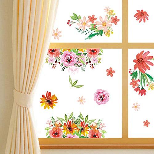 Sayala 2 Piezas de Pegatina,Vinilos Romántico Roja Rosa Flores Pegatinas Pared Desmontable DIY Decorativos Adhesivos para Sala De Estar Dormitorio