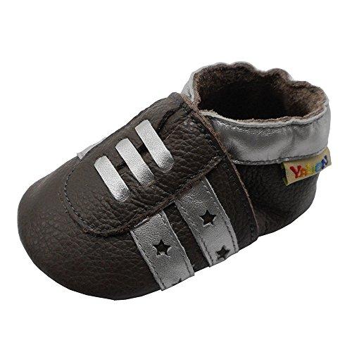 Yalion Weicher Leder Baby Turnschuhe Lauflernschuhe Krabbelschuhe Babyhausschuhe Hellbraun 6-12 Monate