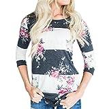 CYBERRY.M Femmes Automne Occasionnel Imprimé Floral Trois Quarts Manches T-Shirt Top Chemisier (M, Blanc)