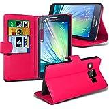 ( Hot Pink ) Samsung Galaxy A5 Case Premium Fitted Book PU-lederne Mappe Ständer Flip Mit 3 Kredit- / Bank-Karten-Slot-Kasten-Haut-Abdeckung mit LCD-Display Schutzfolie, Poliertuch und Mini-versenkbaren Stift durch Spyrox