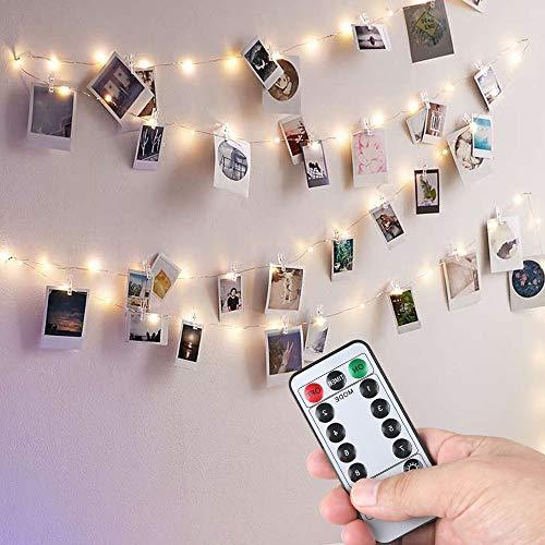 Anpro 50 LED Fotoclips Lichterkette Photoclips 5M, USB Powered 8 Beleuchtungsmodi 10 Wandnägel mit Fernbedienung für Foto Bilder Karten, Warmweiß (Bilder Von Le)