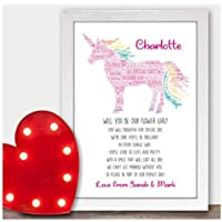 Personalised Will You Be Our Flower Girl Unicorn Poem Bridesmaid Wedding Gifts - Will You Be Presents for Wedding Party - A5, A4, A3 Prints and Frames - 18mm Wooden Blocks - FREE Personalisation