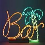 trendaffe Barschild mit Palme Dekolampe - Bar Schild mit Palme Dekolicht Dekoleuchte Stimmungslicht