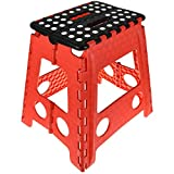 One Step Folding Plastic Stool | Portable Fold Up Footstool for Kitchen, Bathroom, Toilet, Caravan | for Children, Kids, Adult | Collapsible, Non Slip - Large - Red