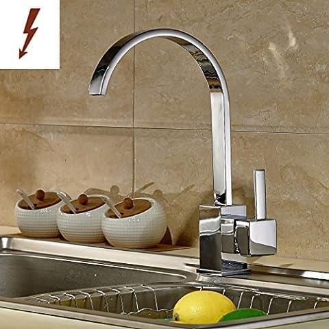AuraLum® 360°Drehbar Niederdruck Spültischarmatur Küche Wasserhahn Einhebel Küchenarmatur Wasserfall Einhandmischer für Küche Spülbecken inkl. Schlauch und