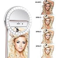 Meer Clip en uno Mismo la luz del Anillo [Batería Recargable de] con LED Flash Anillo Selfie Clip de 3 Niveles de Intensidad para teléfono, Tablet, iPad, Ordenador portátil, cámara (Blanco)
