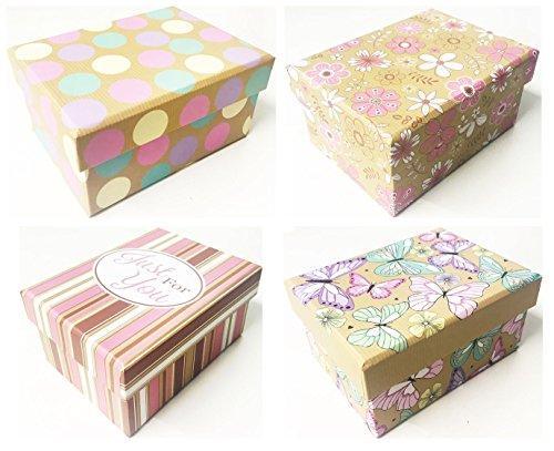 4femmina pattern gift box set (butterfly, just for you, fiori, puntini) compleanno matrimonio addio al nubilato gioielli trinket storage wrap