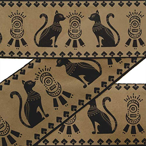 Ägyptischen Kostüm Katze - IBA Indianbeautifulart Braun Streifen & ägyptische Katze Tier bandbesatz Band Stoff schnürsenkel für handwerklich Bedruckte samtbesatz 9 Yard nähzubehör 2 Zoll
