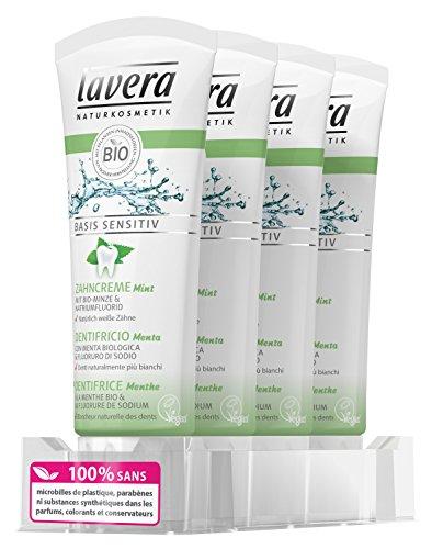 Lavera dentífrico con Menta - vegano - cosméticos naturales 100% certificados - higiene dental - 4 Recipientes de 75 ml